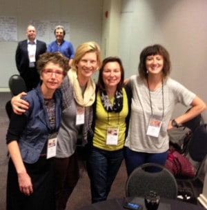 Teaching artist Anne Rutherford, Programs Director Allison Tigard, Community Outreach Manager Marie Schumacher, and Lewis Elementary teacher Abby Rotwein with David Dik (YA National ED) and Eric Booth in the background.