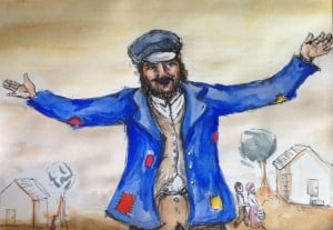 "A painting of Hershel from ""The Adventures of Hershel of Ostropol."""