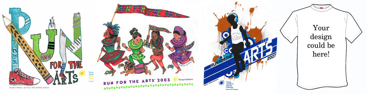 Run For The Arts t-shirt designs through the years.