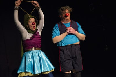 """Sarah Lianne Foster and Michael O'Neill in their most recent show, """"Terrifying Shrubbery."""""""